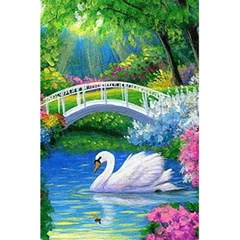 Swan Bird Spring Flowers Trees Lake Pond Landscape Original Aceo Painting Art 5 5  X 8 5  Notebooks