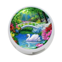Swan Bird Spring Flowers Trees Lake Pond Landscape Original Aceo Painting Art 4-Port USB Hub (Two Sides)