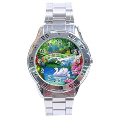 Swan Bird Spring Flowers Trees Lake Pond Landscape Original Aceo Painting Art Stainless Steel Analogue Watch