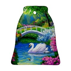 Swan Bird Spring Flowers Trees Lake Pond Landscape Original Aceo Painting Art Ornament (bell)
