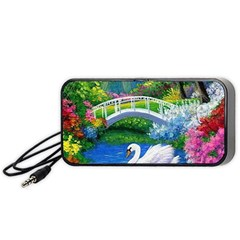 Swan Bird Spring Flowers Trees Lake Pond Landscape Original Aceo Painting Art Portable Speaker (black)