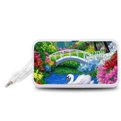 Swan Bird Spring Flowers Trees Lake Pond Landscape Original Aceo Painting Art Portable Speaker (White)