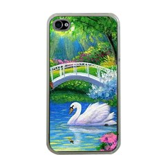 Swan Bird Spring Flowers Trees Lake Pond Landscape Original Aceo Painting Art Apple iPhone 4 Case (Clear)