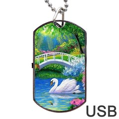 Swan Bird Spring Flowers Trees Lake Pond Landscape Original Aceo Painting Art Dog Tag Usb Flash (two Sides)