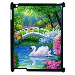 Swan Bird Spring Flowers Trees Lake Pond Landscape Original Aceo Painting Art Apple Ipad 2 Case (black)