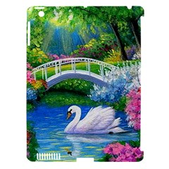 Swan Bird Spring Flowers Trees Lake Pond Landscape Original Aceo Painting Art Apple Ipad 3/4 Hardshell Case (compatible With Smart Cover)