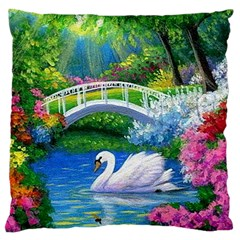 Swan Bird Spring Flowers Trees Lake Pond Landscape Original Aceo Painting Art Large Cushion Case (one Side)