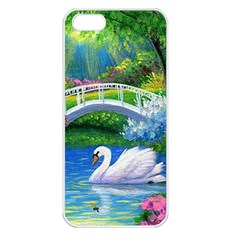 Swan Bird Spring Flowers Trees Lake Pond Landscape Original Aceo Painting Art Apple Iphone 5 Seamless Case (white)