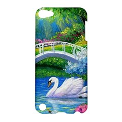 Swan Bird Spring Flowers Trees Lake Pond Landscape Original Aceo Painting Art Apple iPod Touch 5 Hardshell Case