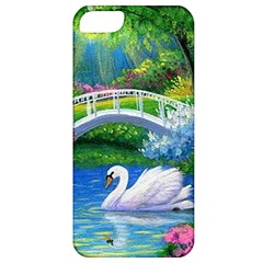 Swan Bird Spring Flowers Trees Lake Pond Landscape Original Aceo Painting Art Apple Iphone 5 Classic Hardshell Case
