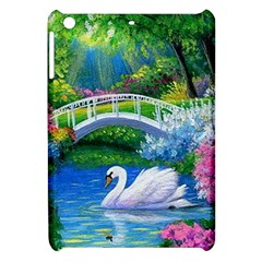 Swan Bird Spring Flowers Trees Lake Pond Landscape Original Aceo Painting Art Apple Ipad Mini Hardshell Case