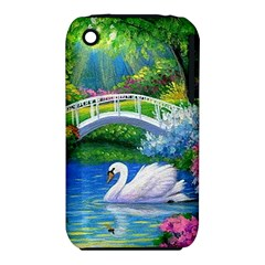 Swan Bird Spring Flowers Trees Lake Pond Landscape Original Aceo Painting Art Iphone 3s/3gs