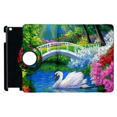 Swan Bird Spring Flowers Trees Lake Pond Landscape Original Aceo Painting Art Apple Ipad 2 Flip 360 Case