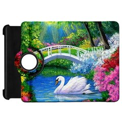 Swan Bird Spring Flowers Trees Lake Pond Landscape Original Aceo Painting Art Kindle Fire Hd 7