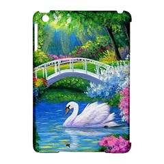 Swan Bird Spring Flowers Trees Lake Pond Landscape Original Aceo Painting Art Apple Ipad Mini Hardshell Case (compatible With Smart Cover)