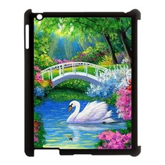 Swan Bird Spring Flowers Trees Lake Pond Landscape Original Aceo Painting Art Apple Ipad 3/4 Case (black)