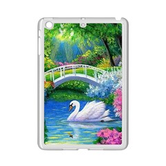 Swan Bird Spring Flowers Trees Lake Pond Landscape Original Aceo Painting Art Ipad Mini 2 Enamel Coated Cases