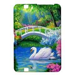 Swan Bird Spring Flowers Trees Lake Pond Landscape Original Aceo Painting Art Kindle Fire Hd 8 9
