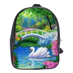 Swan Bird Spring Flowers Trees Lake Pond Landscape Original Aceo Painting Art School Bags (XL)