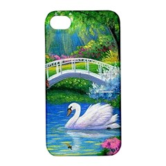 Swan Bird Spring Flowers Trees Lake Pond Landscape Original Aceo Painting Art Apple iPhone 4/4S Hardshell Case with Stand