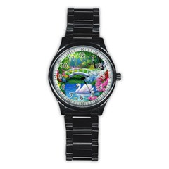 Swan Bird Spring Flowers Trees Lake Pond Landscape Original Aceo Painting Art Stainless Steel Round Watch