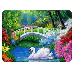 Swan Bird Spring Flowers Trees Lake Pond Landscape Original Aceo Painting Art Samsung Galaxy Tab 7  P1000 Flip Case