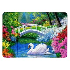 Swan Bird Spring Flowers Trees Lake Pond Landscape Original Aceo Painting Art Samsung Galaxy Tab 8 9  P7300 Flip Case