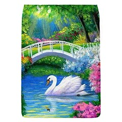 Swan Bird Spring Flowers Trees Lake Pond Landscape Original Aceo Painting Art Flap Covers (S)