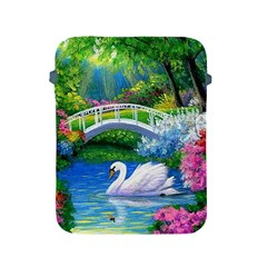 Swan Bird Spring Flowers Trees Lake Pond Landscape Original Aceo Painting Art Apple iPad 2/3/4 Protective Soft Cases