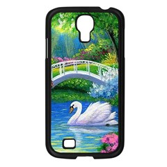 Swan Bird Spring Flowers Trees Lake Pond Landscape Original Aceo Painting Art Samsung Galaxy S4 I9500/ I9505 Case (black)