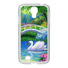 Swan Bird Spring Flowers Trees Lake Pond Landscape Original Aceo Painting Art Samsung Galaxy S4 I9500/ I9505 Case (white)
