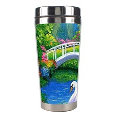 Swan Bird Spring Flowers Trees Lake Pond Landscape Original Aceo Painting Art Stainless Steel Travel Tumblers