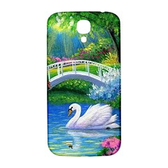 Swan Bird Spring Flowers Trees Lake Pond Landscape Original Aceo Painting Art Samsung Galaxy S4 I9500/I9505  Hardshell Back Case