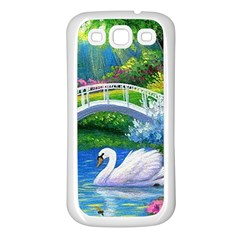 Swan Bird Spring Flowers Trees Lake Pond Landscape Original Aceo Painting Art Samsung Galaxy S3 Back Case (white)