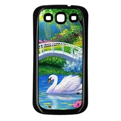 Swan Bird Spring Flowers Trees Lake Pond Landscape Original Aceo Painting Art Samsung Galaxy S3 Back Case (Black)