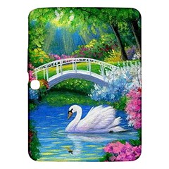 Swan Bird Spring Flowers Trees Lake Pond Landscape Original Aceo Painting Art Samsung Galaxy Tab 3 (10.1 ) P5200 Hardshell Case