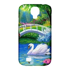 Swan Bird Spring Flowers Trees Lake Pond Landscape Original Aceo Painting Art Samsung Galaxy S4 Classic Hardshell Case (PC+Silicone)