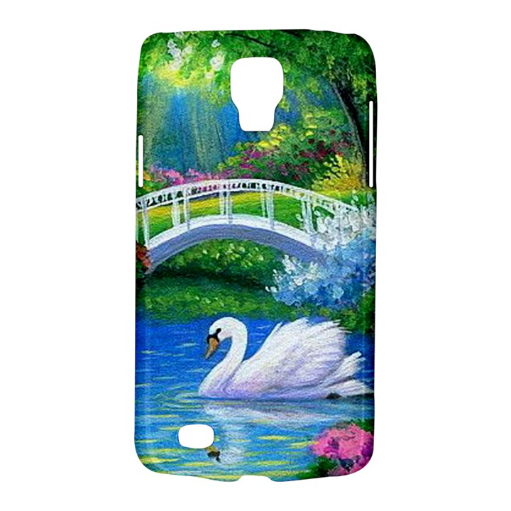 Swan Bird Spring Flowers Trees Lake Pond Landscape Original Aceo Painting Art Galaxy S4 Active