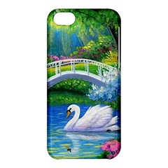 Swan Bird Spring Flowers Trees Lake Pond Landscape Original Aceo Painting Art Apple Iphone 5c Hardshell Case