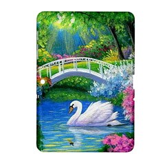 Swan Bird Spring Flowers Trees Lake Pond Landscape Original Aceo Painting Art Samsung Galaxy Tab 2 (10 1 ) P5100 Hardshell Case