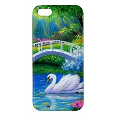 Swan Bird Spring Flowers Trees Lake Pond Landscape Original Aceo Painting Art iPhone 5S/ SE Premium Hardshell Case