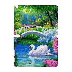Swan Bird Spring Flowers Trees Lake Pond Landscape Original Aceo Painting Art Galaxy Note 1