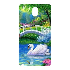 Swan Bird Spring Flowers Trees Lake Pond Landscape Original Aceo Painting Art Samsung Galaxy Note 3 N9005 Hardshell Back Case