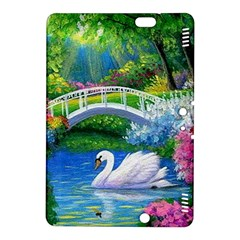 Swan Bird Spring Flowers Trees Lake Pond Landscape Original Aceo Painting Art Kindle Fire Hdx 8 9  Hardshell Case