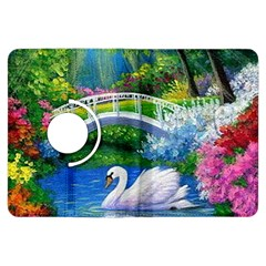 Swan Bird Spring Flowers Trees Lake Pond Landscape Original Aceo Painting Art Kindle Fire Hdx Flip 360 Case