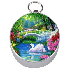 Swan Bird Spring Flowers Trees Lake Pond Landscape Original Aceo Painting Art Silver Compasses
