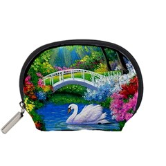 Swan Bird Spring Flowers Trees Lake Pond Landscape Original Aceo Painting Art Accessory Pouches (small)