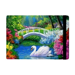 Swan Bird Spring Flowers Trees Lake Pond Landscape Original Aceo Painting Art iPad Mini 2 Flip Cases
