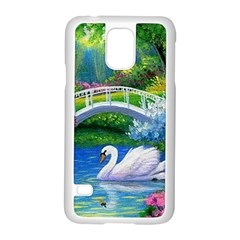 Swan Bird Spring Flowers Trees Lake Pond Landscape Original Aceo Painting Art Samsung Galaxy S5 Case (White)