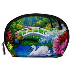 Swan Bird Spring Flowers Trees Lake Pond Landscape Original Aceo Painting Art Accessory Pouches (Large)